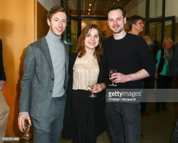 Max Mauff Mala Emde and Florian Bartholomaei attend the Hessian Reception during the 67th Berlinale International Film Festival Berlin at on February...