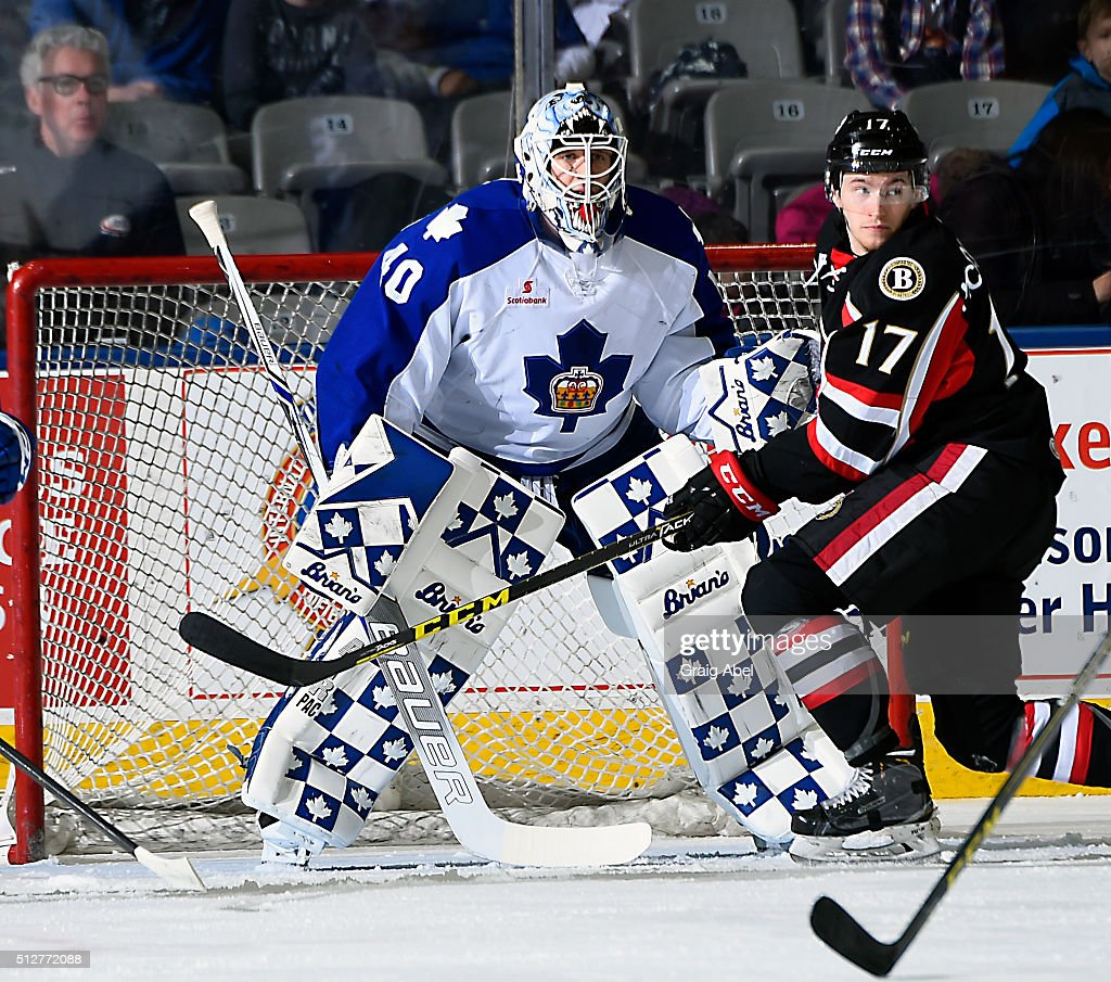 Max McCormick #17 of the Binghamton Senators gets in front of Garret Sparks #40 of the Toronto Marlies during AHL game action on February 24, 2016 at Ricoh Coliseum in Toronto, Ontario, Canada.