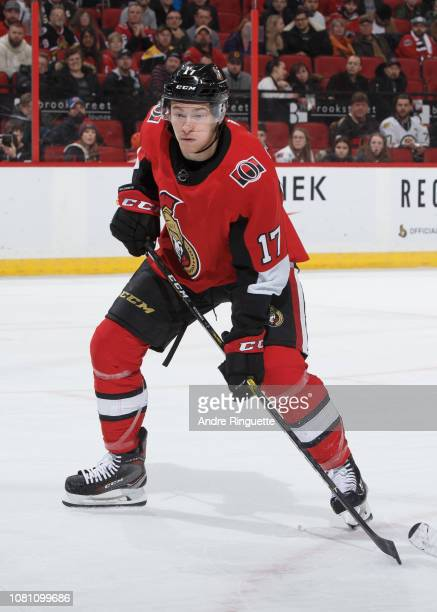Max McCormick of the Ottawa Senators skates against the Boston Bruins at Canadian Tire Centre on December 9 2018 in Ottawa Ontario Canada