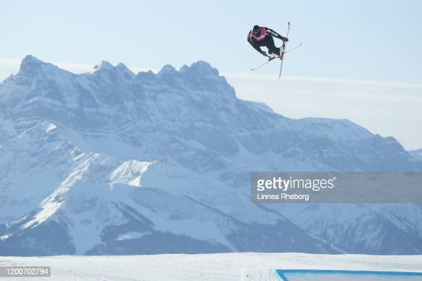 Max McDonald of New Zealand competes in Men's Freeski Slopestyle Qualification Run in freestyle skiing during day 11 of the Lausanne 2020 Winter...