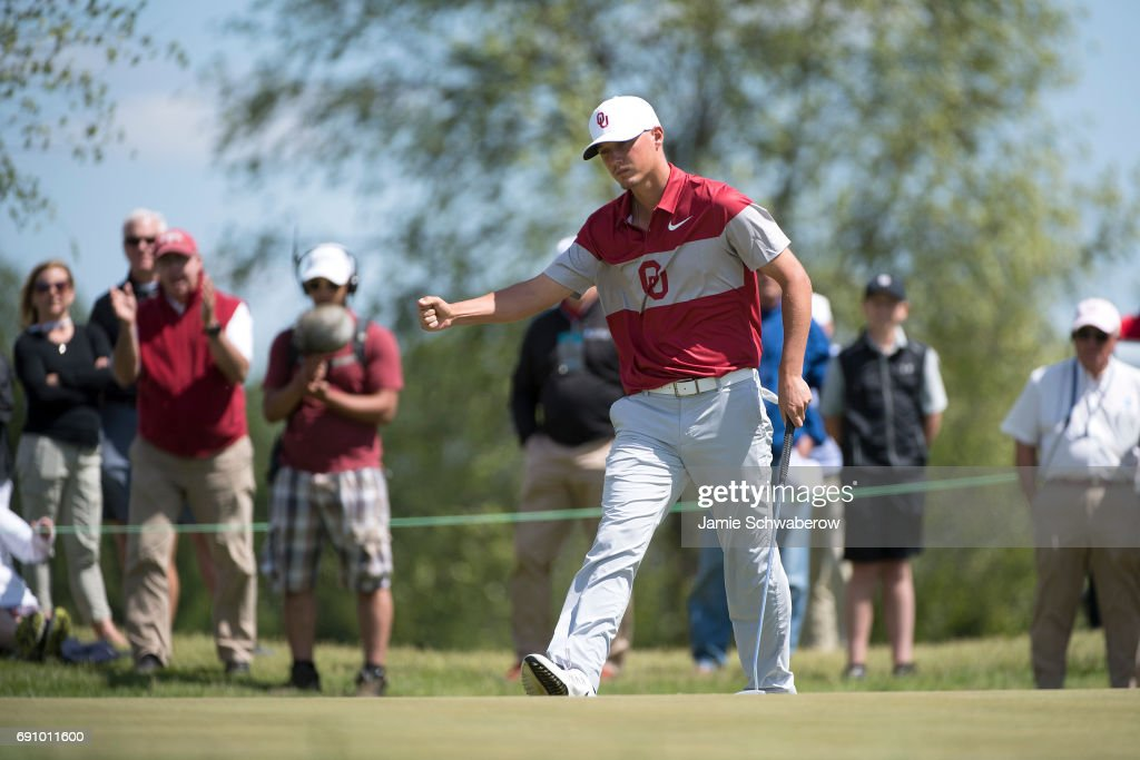 Max McGreevy of the University of Oklahoma celebrates after making a putt during the Division I Men's Golf Team Championship held at Rich Harvest Farms on May 31, 2017 in Sugar Grove, Illinois. Oklahoma won the team national title.