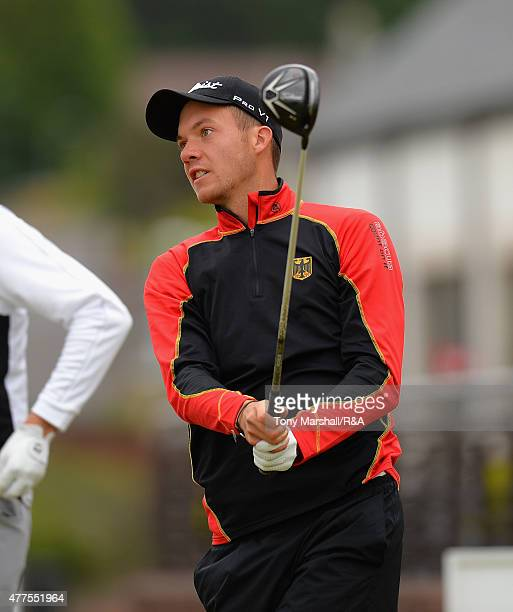 Max Mehles of Germany plays his first shot on the 1st tee during The Amateur Championship 2015 Day Four at Carnoustie Golf Club on June 18 2015 in...