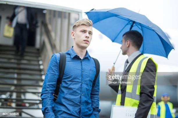 Max Meyer departs a Lufthansa plane carrying the Germany U21 National Team at Frankfurt International Airport on July 1 2017 in Frankfurt am Main...