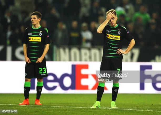 Max Meyer of Borussia Moenchengladbach is dejected after the UEFA Europa League Round of 16 second leg match between Borussia Moenchengladbach and FC...