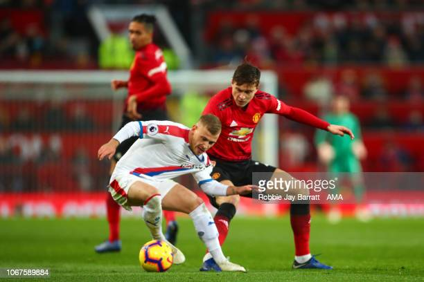 Max Meyer of Crystal Palace and Victor Lindelof of Manchester United during the Premier League match between Manchester United and Crystal Palace at...