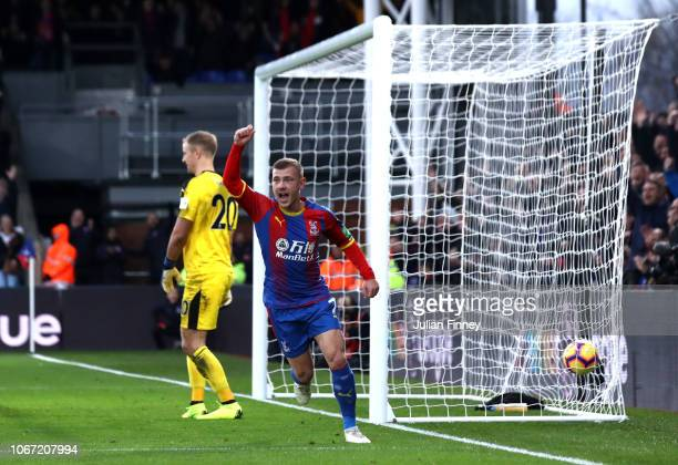 Max Meyer of Crystal Palace celebrates James McArthur of Crystal Palace scoring his team's first goal during the Premier League match between Crystal...