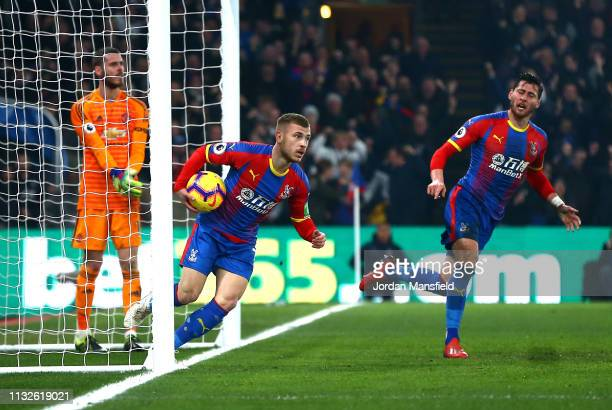 Max Meyer of Crystal Palace collects the ball after his team's first goal during the Premier League match between Crystal Palace and Manchester...
