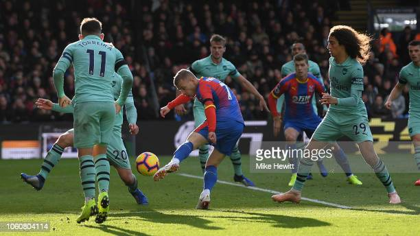 Max Meyer of Crystal Palace shoots over the bar during the Premier League match between Crystal Palace and Arsenal FC at Selhurst Park on October 28...