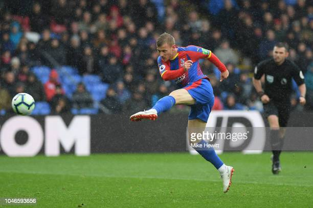 Max Meyer of Crystal Palace volleys wide during the Premier League match between Crystal Palace and Wolverhampton Wanderers at Selhurst Park on...