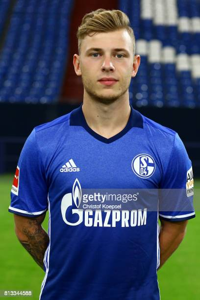 Max Meyer of FC Schalke 04 poses during the team presentation at Veltins Arena on July 12 2017 in Gelsenkirchen Germany