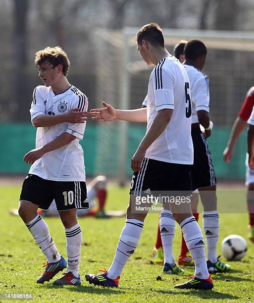 Max Meyer of Germany celebrate with team mate Niklas Suele after the U17 Men's Elite Round match between Germany and Bulgaria on March 22 2012 in...