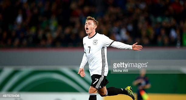 Max Meyer of Germany celebrates after scoring his team's first goal during the 2017 UEFA European U21 Championships Qualifier between U21 Germany and...