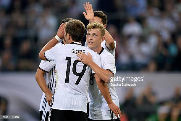 Max Meyer of Germany celebrates after scoring the opening goal during the international friendly match between Germany and Finland at BorussiaPark on...