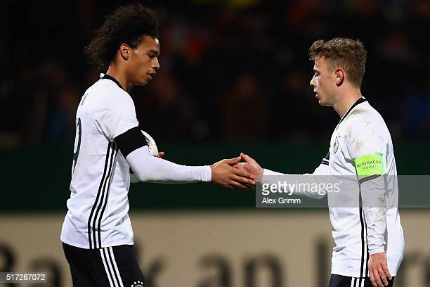Max Meyer of Germany celebrates his team's third goal with team mate Leroy Sane during the 2017 UEFA European U21 Championships qualifier match...