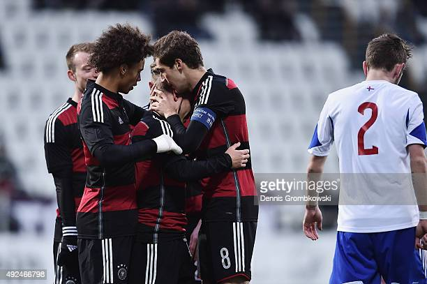 Max Meyer of Germany celebrates with team mates as he scores the opening goal during the 2017 UEFA European U21 Championships Qualifier between U21...