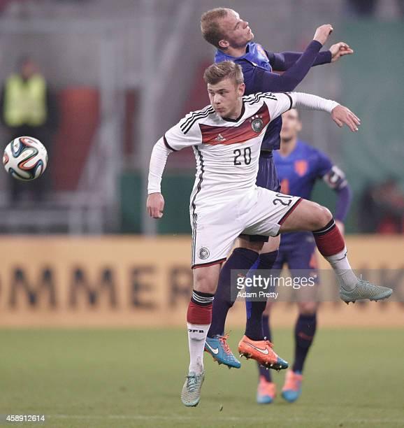 Max Meyer of Germany in action during the U21 Germany v U21 Netherlands International Friendly match at Audi Sportpark on November 13, 2014 in...