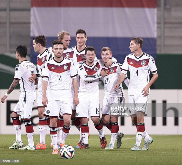 Max Meyer of Germany is congratulated after scoring a goal during the U21 Germany v U21 Netherlands International Friendly match at Audi Sportpark on...