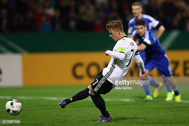 Max Meyer of Germany scores his team's third goal from the penalty spot during the 2017 UEFA European U21 Championships qualifier match between...