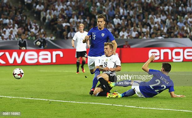 Max Meyer of Germany scores the opening goal during the International Friendly match between Germany and Finland at BorussiaPark on August 31 2016 in...