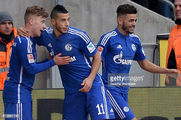 Max Meyer of Koeln celebrates with team mates after scoring his team's second goal during the Bundesliga match between 1 FC Koeln and FC Schalke 04...