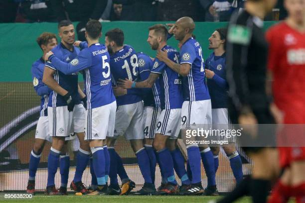 Max Meyer of Schalke 04 celebrates 10 with Franco Di Santo of Schalke 04 Matija Nastasic of Schalke 04 Daniel Caligiuri of Schalke 04 Bastian Oczipka...