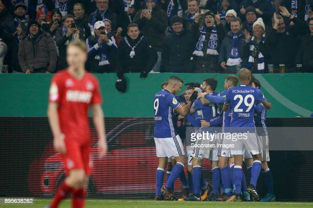 Max Meyer of Schalke 04 celebrates 10 with Franco Di Santo of Schalke 04 Daniel Caligiuri of Schalke 04 Bastian Oczipka of Schalke 04 Naldo of...