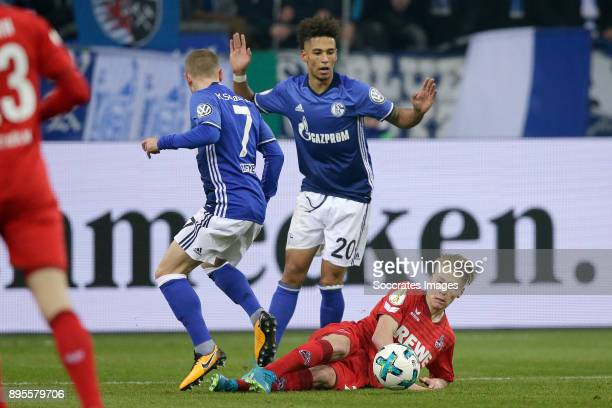 Max Meyer of Schalke 04 Thilo Kehrer of Schalke 04 Frederik Sorensen of FC Koln during the German DFB Pokal match between Schalke 04 v 1 FC Koln at...