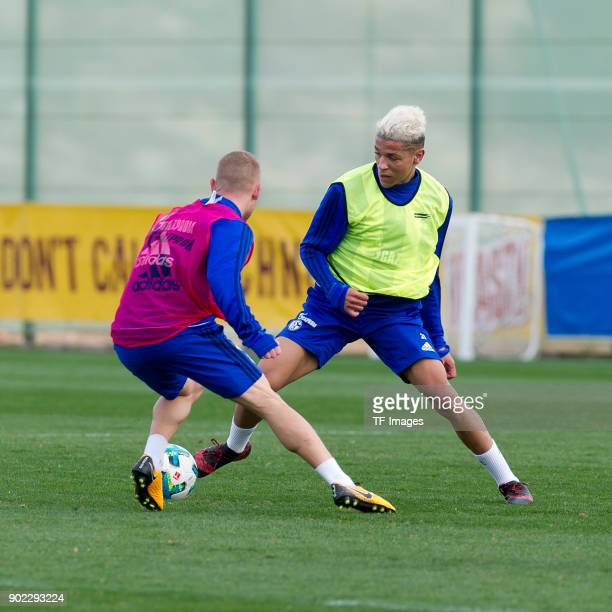 Max Meyer of Schalke and Amine Harit of Schalke battle for the ball during the FC Schalke 04 training camp at Hotel Melia Villaitana on January 06...