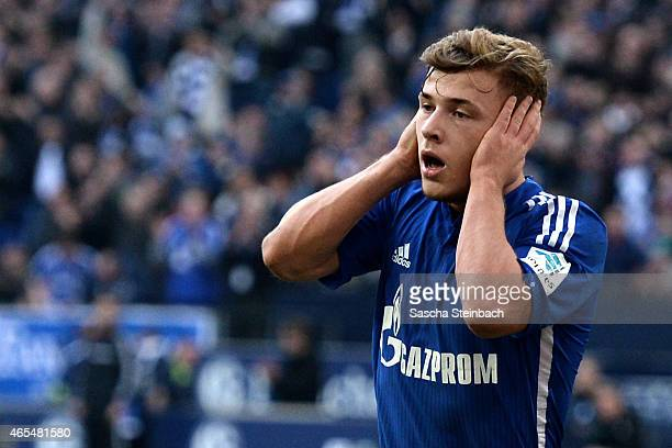 Max Meyer of Schalke celebrates after scoring his team's second goal during the Bundesliga match between FC Schalke 04 and 1899 Hoffenheim at Veltins...