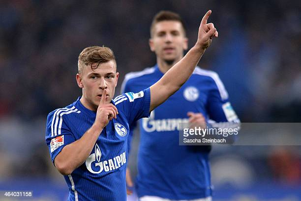 Max Meyer of Schalke celebrates after scoring the opening goal during the Bundesliga match between FC Schalke 04 and SV Werder Bremen at Veltins...