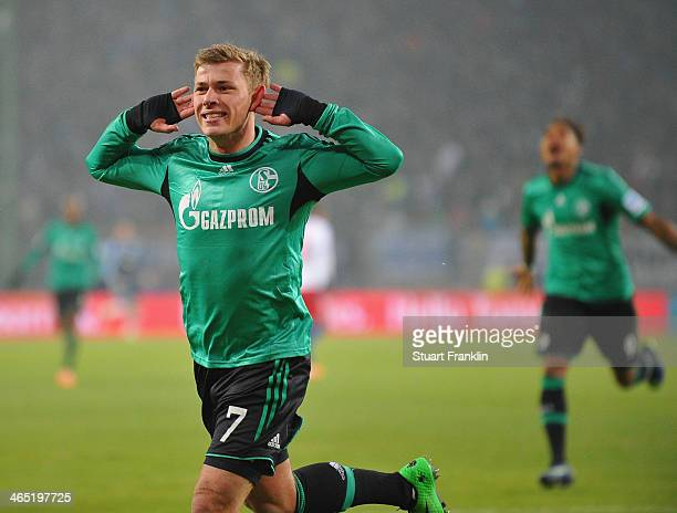 Max Meyer of Schalke celebrates his goal during the Bundesliga match between Hamburger SV and FC Schalke 04 at Imtech Arena on January 26, 2014 in...