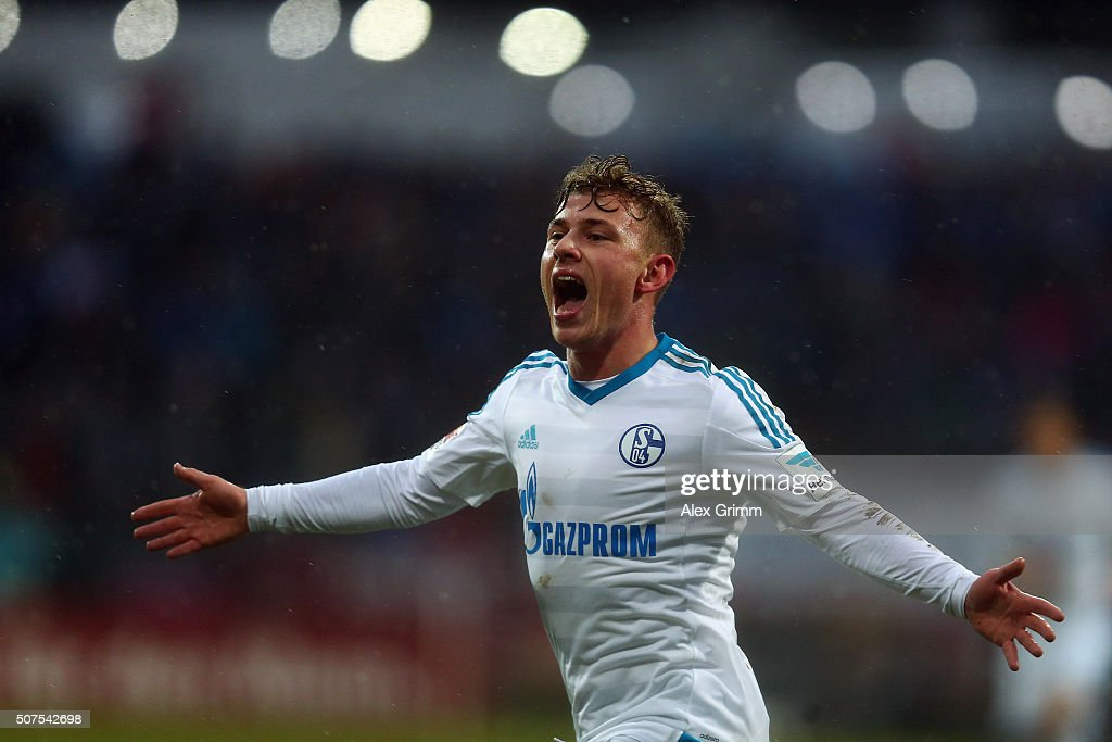 Max Meyer of Schalke celebrates his team's first goal during the Bundesliga match between SV Darmstadt 98 and FC Schalke 04 at Merck-Stadion am Boellenfalltor on January 30, 2016 in Darmstadt, Germany.