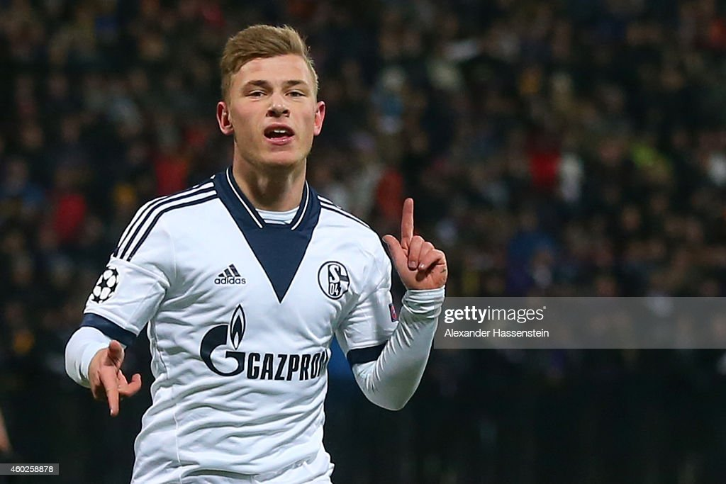 Max Meyer of Schalke celebrates scoring the opening goal during the UEFA Group G Champions League match between NK Maribor and FC Schalke 04 at Ljudski vrt Stadium on December 10, 2014 in Maribor, Slovenia.