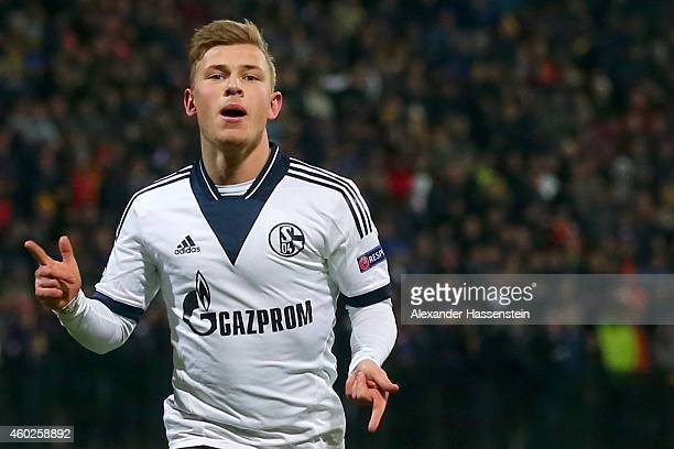 Max Meyer of Schalke celebrates scoring the opening goal during the UEFA Group G Champions League match between NK Maribor and FC Schalke 04 at...