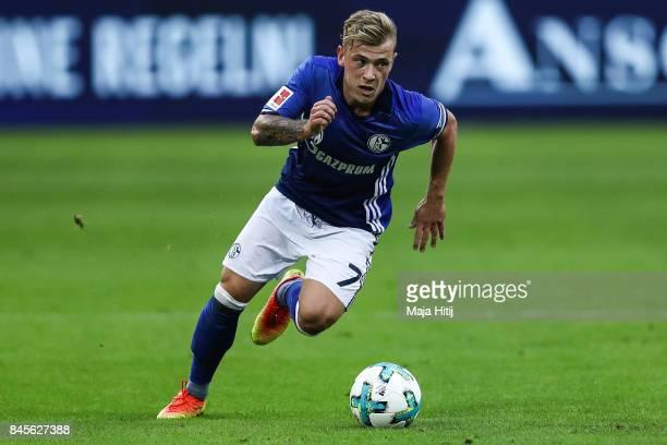 Max Meyer of Schalke controls the ball during the Bundesliga match between FC Schalke 04 and VfB Stuttgart at VeltinsArena on September 10 2017 in...