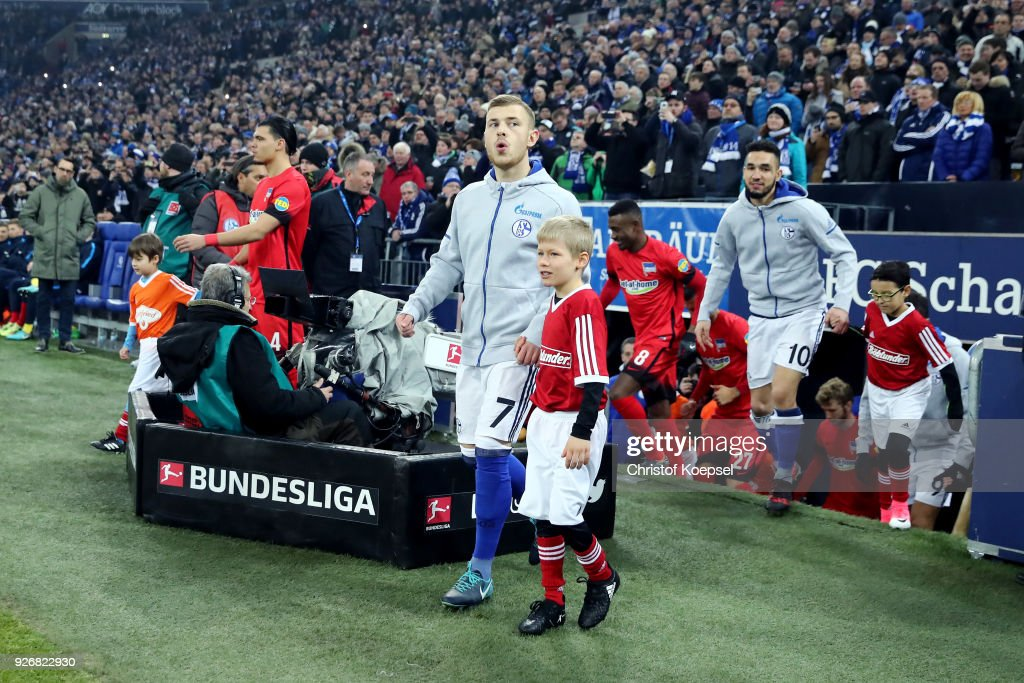 Max Meyer of Schalke enters the pitch prior to the Bundesliga match between FC Schalke 04 and Hertha BSC at Veltins-Arena on March 3, 2018 in Gelsenkirchen, Germany. The match between Schalke and Berlin ended 1-0.