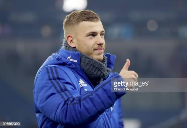 Max Meyer of Schalke looks on prior to the Bundesliga match between FC Schalke 04 and Hertha BSC at VeltinsArena on March 3 2018 in Gelsenkirchen...