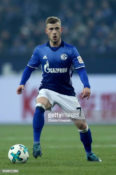 Max Meyer of Schalke runs with the ball during the Bundesliga match between FC Schalke 04 and Hertha BSC at VeltinsArena on March 3 2018 in...