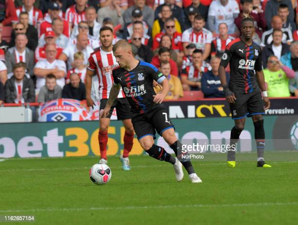 Max Meyer takes the ball out of defence during English Premier League between Sheffield United and Crystal Palace at Bramall Lane Ground, Sheffield,...
