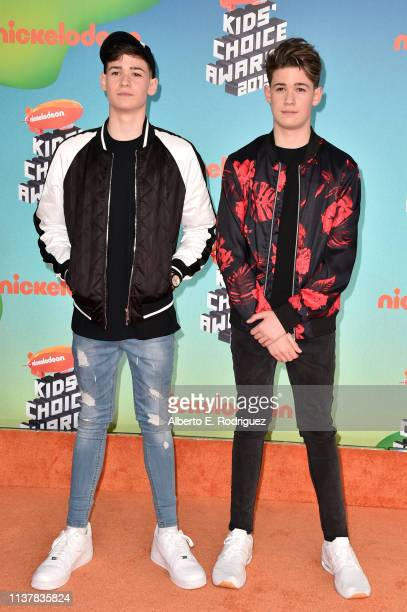 Max Mills and Harvey Mills attend Nickelodeon's 2019 Kids' Choice Awards at Galen Center on March 23 2019 in Los Angeles California