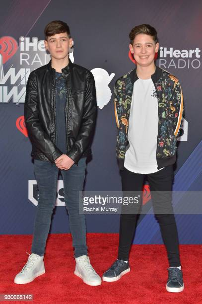 Max Mills and Harvey Mills of Max and Harvey arrive at the 2018 iHeartRadio Music Awards which broadcasted live on TBS TNT and truTV at The Forum on...