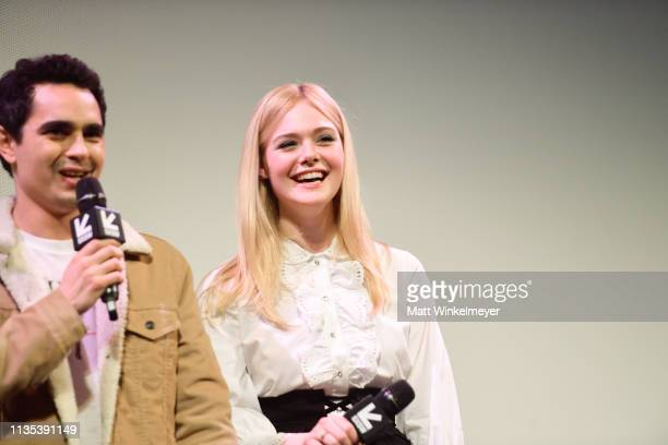 Max Minghella and Elle Fanning attends the Teen Spirit Premiere 2019 SXSW Conference and Festivals at Paramount Theatre on March 12 2019 in Austin...