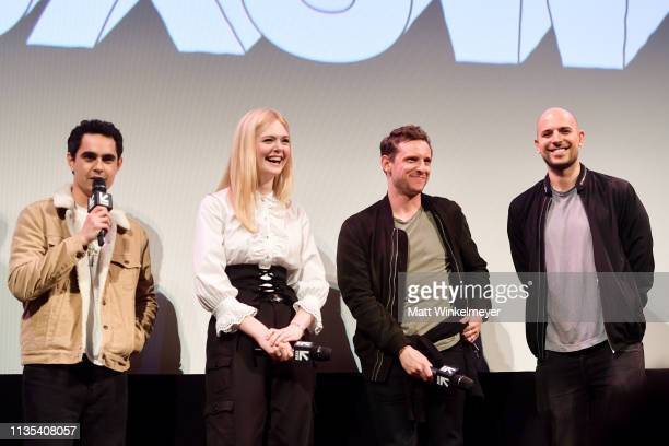 Max Minghella Elle Fanning Jamie Bell and Fred Berger attend the Teen Spirit Premiere 2019 SXSW Conference and Festivals at Paramount Theatre on...