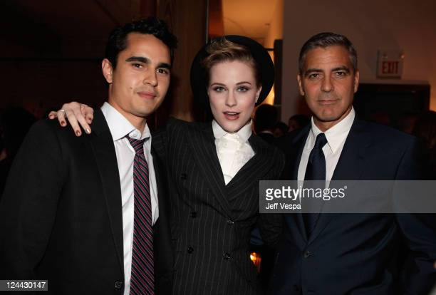 Max Minghella Evan Rachel Wood and George Clooney attendThe Ides of March party hosted by GREY GOOSE Vodka at Soho House Pop Up Club during the 2011...