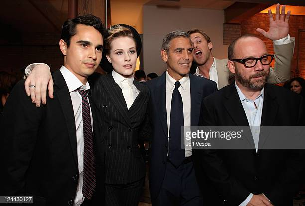 Max Minghella Evan Rachel Wood George Clooney Ryan Gosling and Paul Giamatti attendThe Ides of March party hosted by GREY GOOSE Vodka at Soho House...