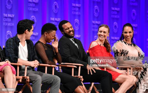 Max Minghella Samira Wiley O T Fagbenle Yvonne Strahovski and Amanda Brugel attend The Paley Center For Media's 35th Annual PaleyFest Los Angeles...