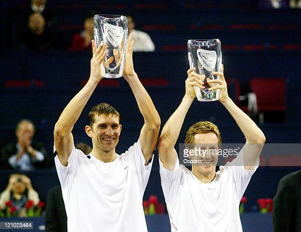 Max Mirnyi and Jonas Bjorkman win the Men's Doubles Final 6-2 6-4 during the Shanghai Masters event at Qi Zhong Tennis Centre in Shanghai, China on...