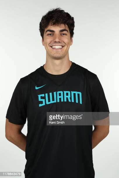 Max Montana of the Greensboro Swarm poses for a headshot during NBA G League media day at Hayes-Taylor Memorial YMCA in Greensboro, North Carolina....