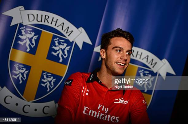 Max Morley of Durham poses for a portrait during the Durham CCC Photocall at The Riverside on March 28 2014 in ChesterLeStreet England