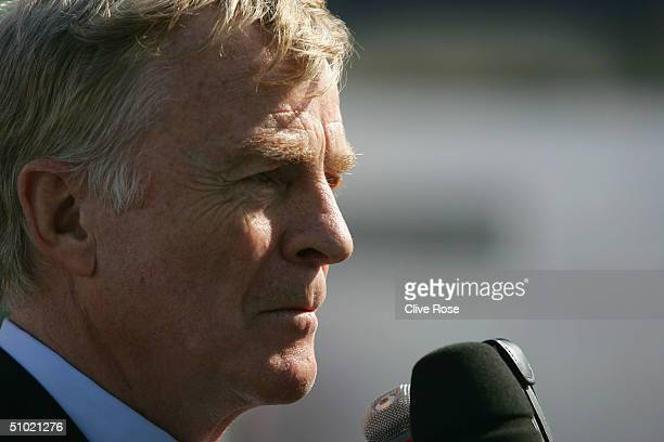 Max Mosley faces questions from the press after announcing his resignation as President of the FIA, before the practice session prior to qualifying...